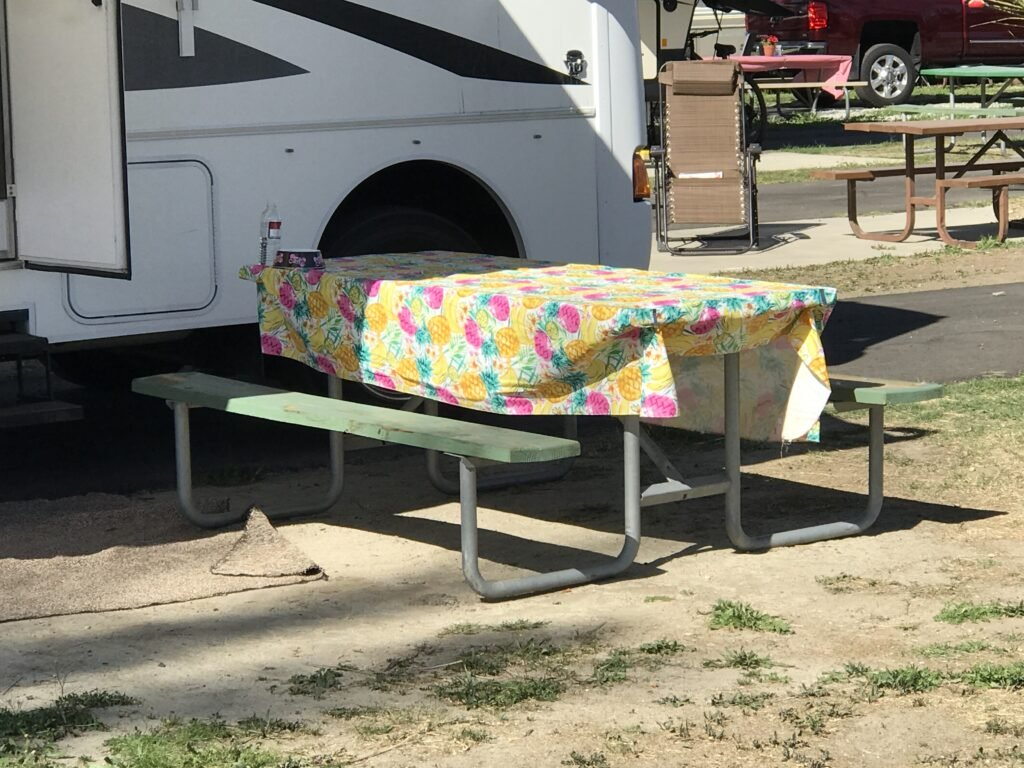 picnic table with tablecloth
